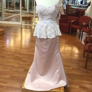 Ivory-blush bridesmaid dress with lace